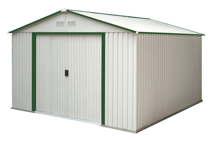 Duramax 50512 or 50212 10'x8' Del Mar Metal Shed – Green Trim & Foundation