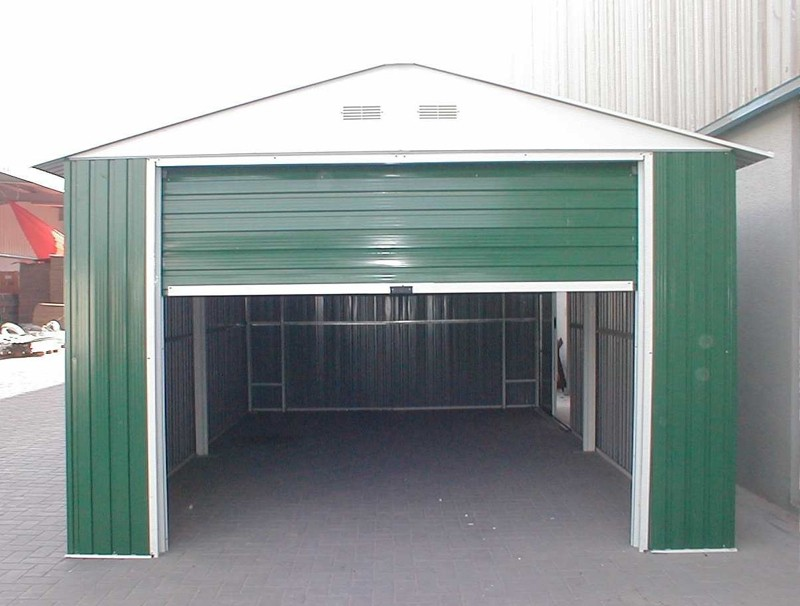duramax metal garage u2013 12u0027 x 26u0027 metal storage shed u2013 green with white trim