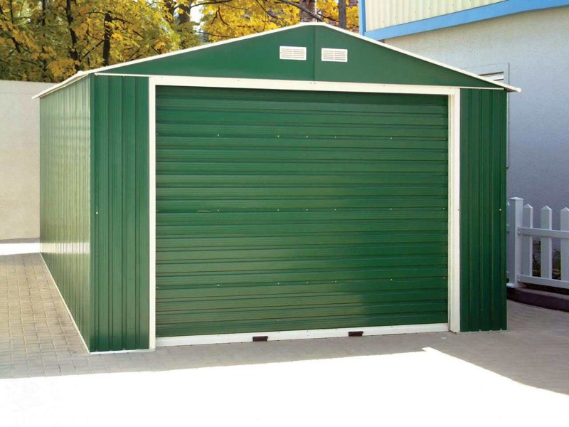 duramax metal garage u2013 12u0027 x 32u0027 metal storage shed u2013 green with white trim