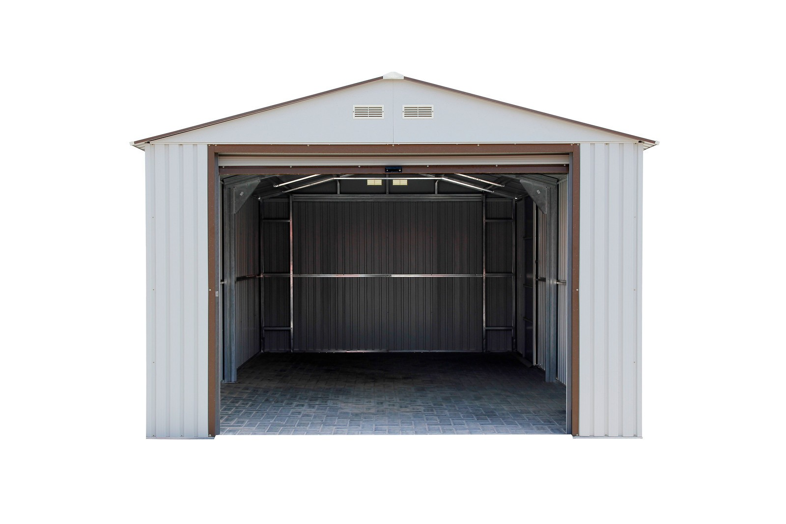 duramax metal garage u2013 12u0027 x 32u0027 metal storage shed u2013 off white with brown trim