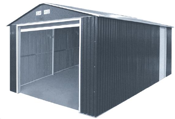 Duramax 55251 Metal Garage – 12'x32' Metal Storage Shed – Dark Gray with White Trim