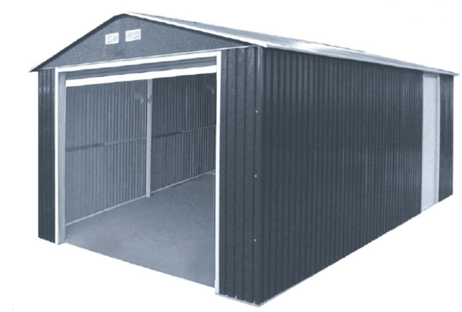 Duramax 54951 Metal Garage – 6' Metal Storage Shed Extension - Dark Gray with White Trim