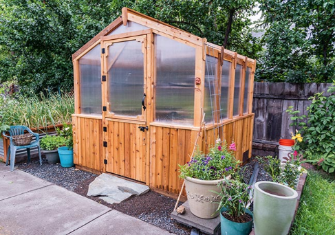 Outdoor Living Today   8x8 Cedar Greenhouse Includes Heat Functioning Roof  Vent