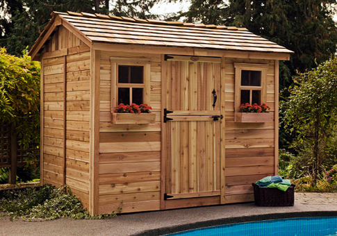 outdoor living today 9x6 cabana garden shed with dutch door 2 functional windows with screens
