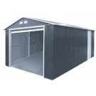 Duramax 55251 Metal Garage – 12'x32' Metal Storage Shed – Dark Gray with White Trim