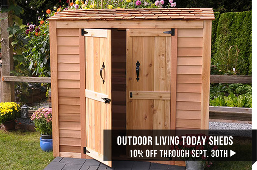 Outdoor Living Today sheds 10% off through September 30th
