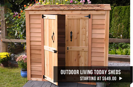 Outdoor Living Today sheds starting at $649